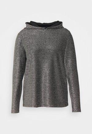 DAVINA GLITTER HOODIE - Long sleeved top - black