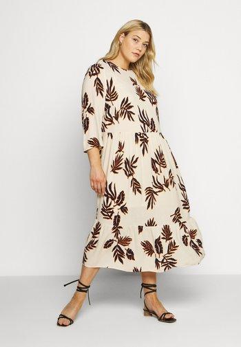 FEMININE LOW WAIST DRESS - Day dress - beige/navy/orange