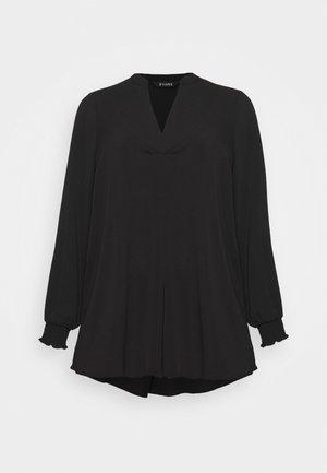 SHEARED CUFF WOVEN TOP - Blouse - black