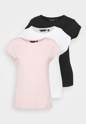 ROLL SLEEVE TEE 3 PACK - T-shirts basic - pink/white/black