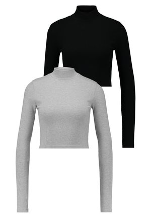 HIGH NECK CROP 2 PACK - Long sleeved top - black/grey