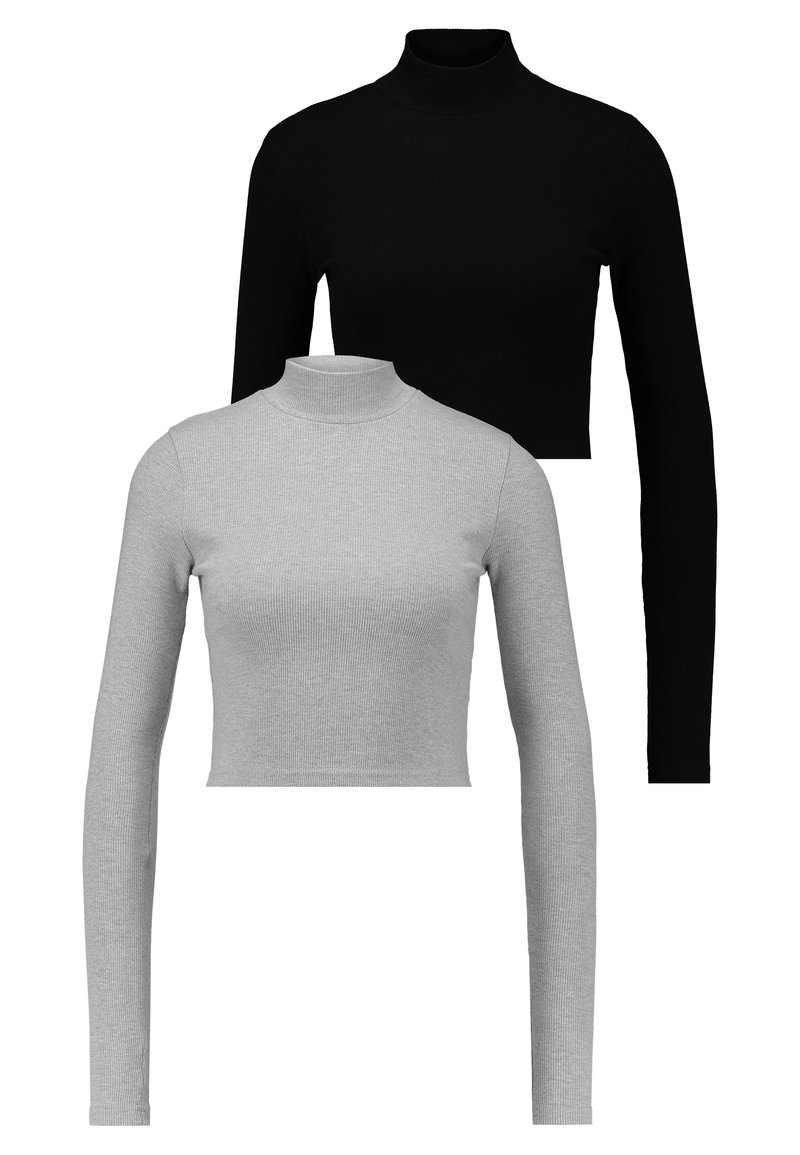 Missguided - HIGH NECK CROP 2 PACK - Long sleeved top - black/grey