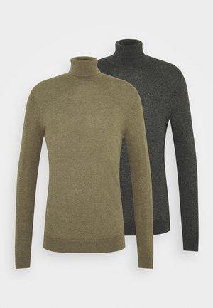 2 PACK  - Neule - khaki/dark grey melange