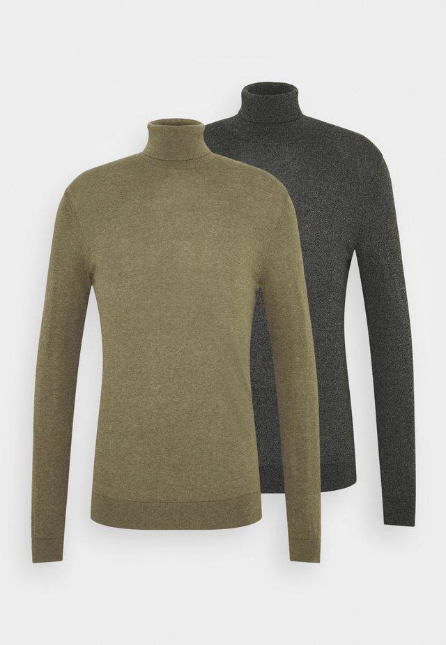 2 PACK  - Stickad tröja - khaki/dark grey melange