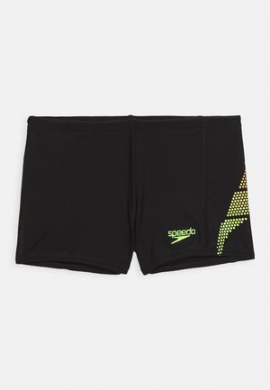 PLASTISOL PLACEMENT AQUASHORT - Swimming trunks - black/lava red/fluorecent yellow