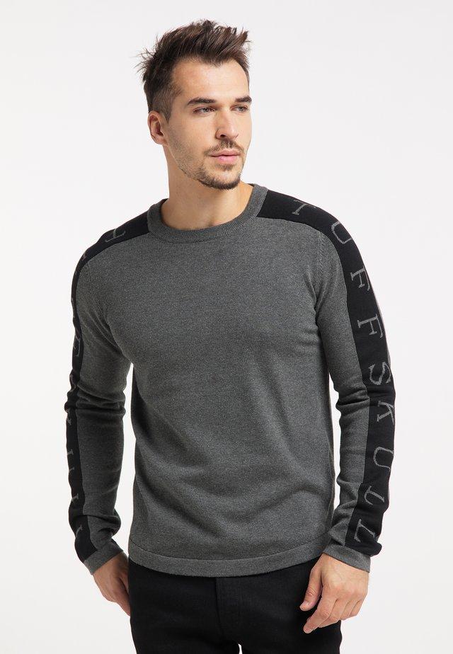 Pullover - dunkelgrau melange schwarz
