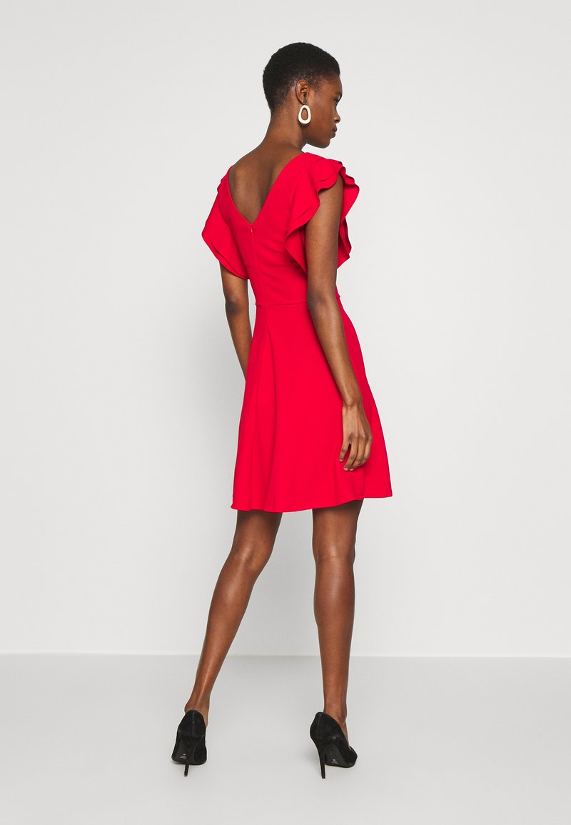 WAL G TALL TALL V NECK FRILL SLEEVE FIT FLARE DRESS - Jerseykleid - red/rot kDRG67