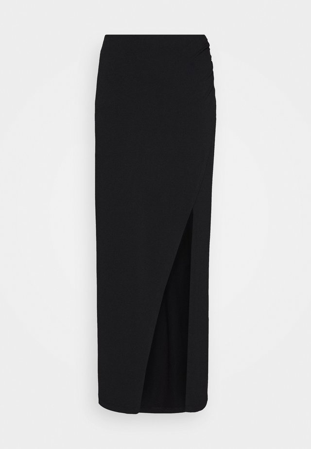 WIDE SLIT MAXI SKIRT - Maxi skirt - black