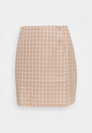 JAUNE SKIRT - Mini skirt - beige/white