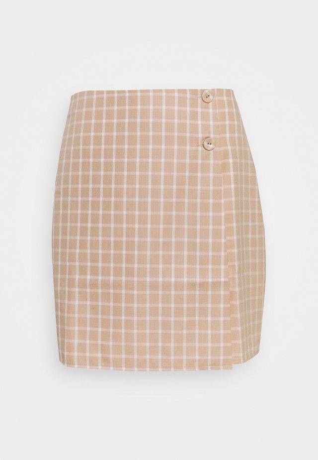 JAUNE SKIRT - Spódnica mini - beige/white