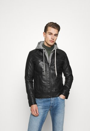 ERIC HOOD - Chaqueta de cuero - black/light grey