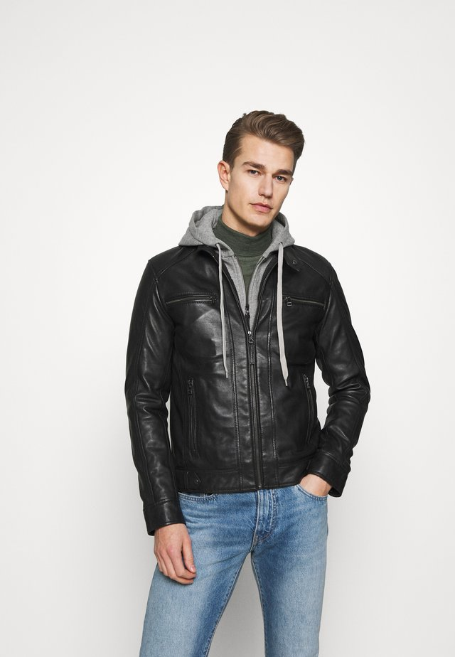 ERIC HOOD - Veste en cuir - black/light grey