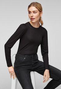 Q/S designed by - Long sleeved top - black melange - 5