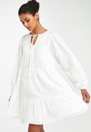 WHITE TIERED EMBROIDERED KAFTAN DRESS - Day dress - white