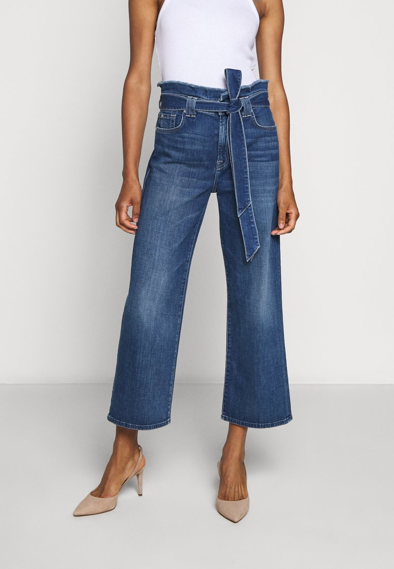 7 for all mankind - CROP ALEXA PAPERBAG  - Jeans Bootcut - dark blue