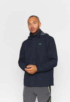 MAN RAIN SNAPS HOOD JACKET - Hardshell jacket - black blue