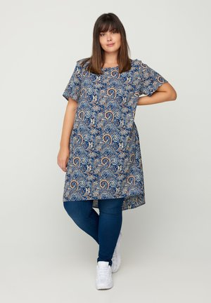 WITH A ROUND NECK - Tunic - dark blue