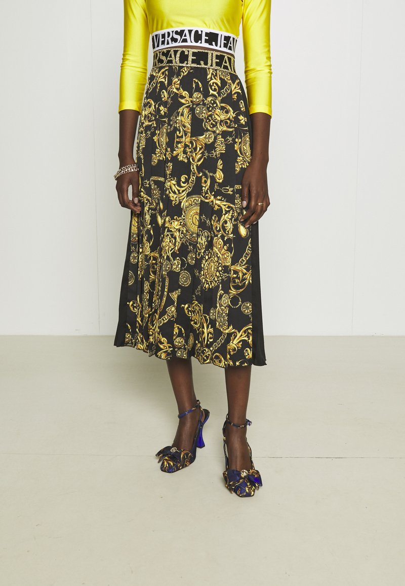 Versace Jeans Couture - SKIRT - A-line skirt - black/gold