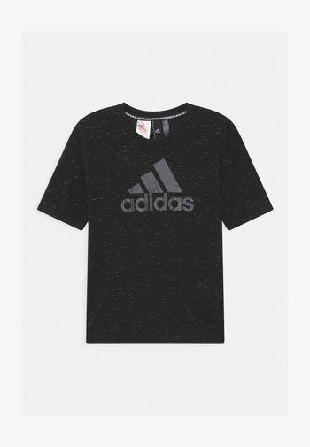 TEE - Print T-shirt - black melange/black