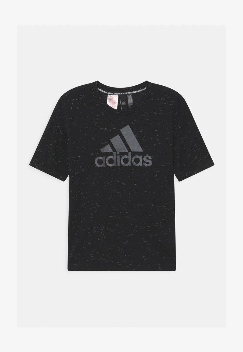 adidas Performance - LOGO TEE - Camiseta estampada - black melange/black