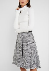 KARL LAGERFELD - BOUCLE  - A-line skirt - white/black - 3