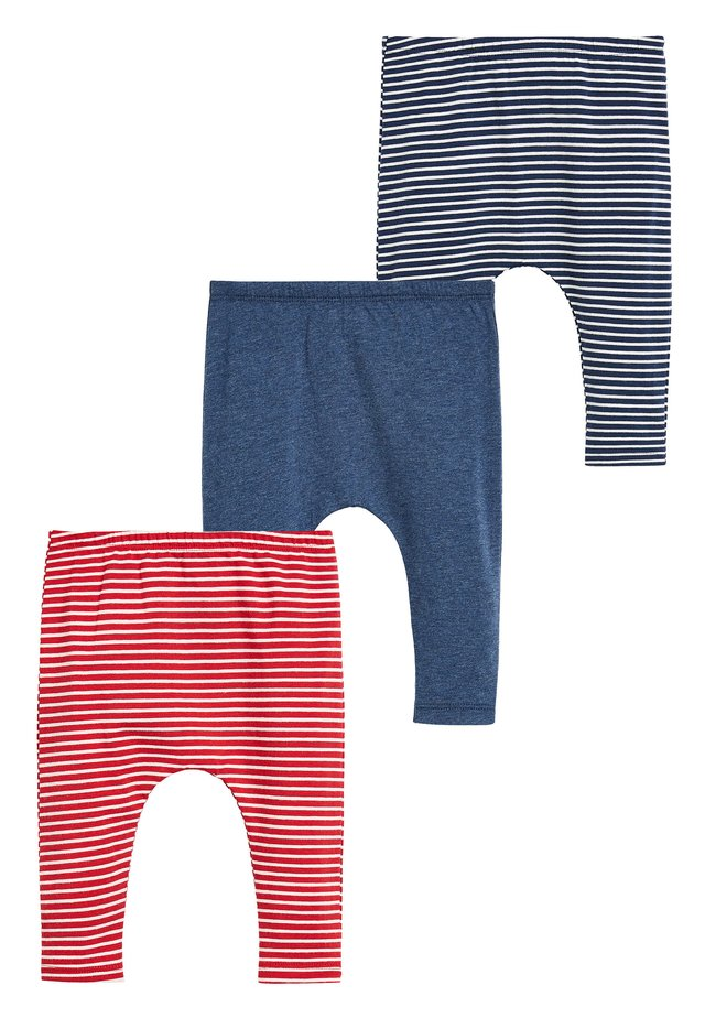 RED/BLUE 3 PACK STRIPE LEGGINGS WITH STRETCH (0MTHS-3YRS) - Leggings - Trousers - red