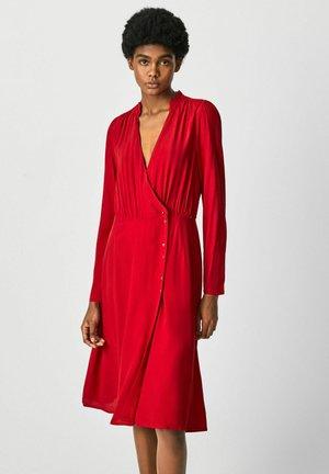 Shirt dress - winter red