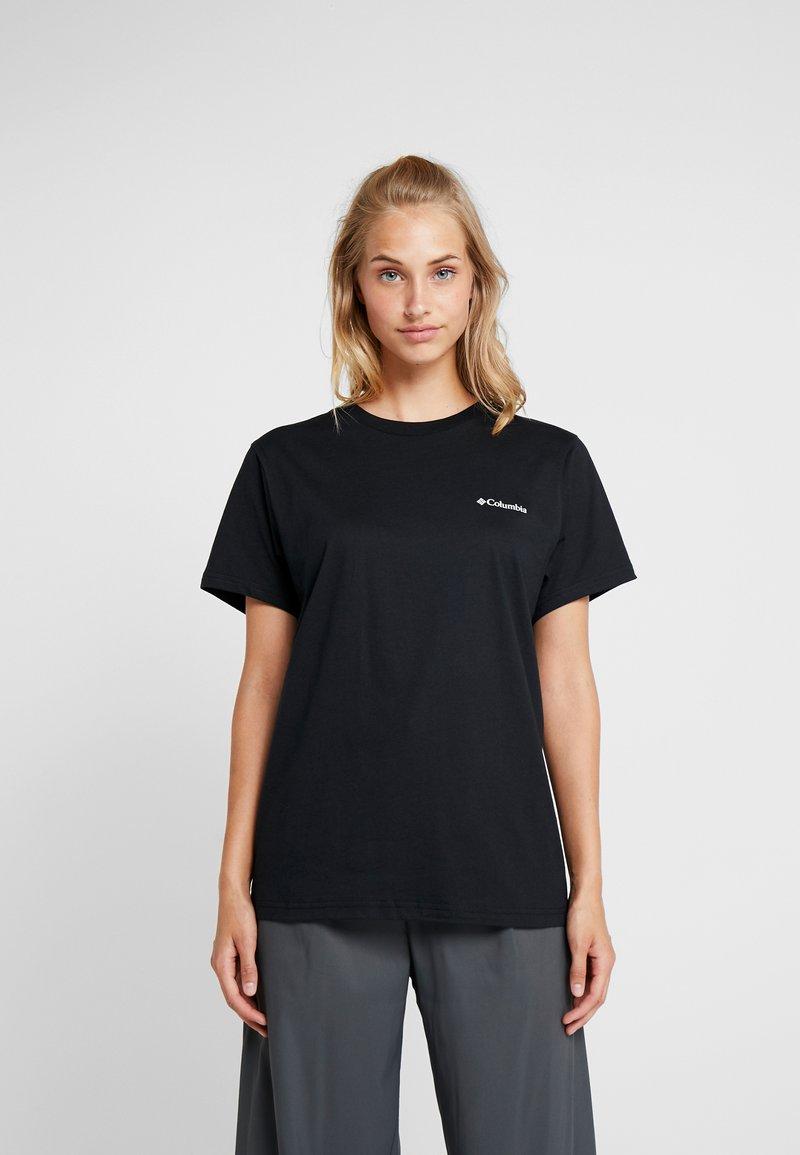 Columbia - NORTH CASCADES TEE - Print T-shirt - black/raw honey/fathom blue box
