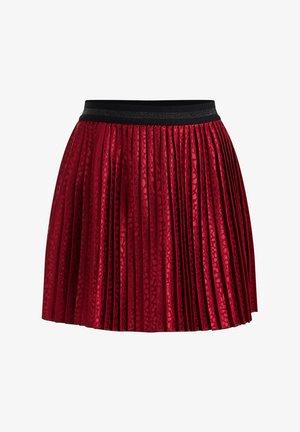 MET PANTERDESSIN EN GLITTERDETAILS - Pleated skirt - burgundy red