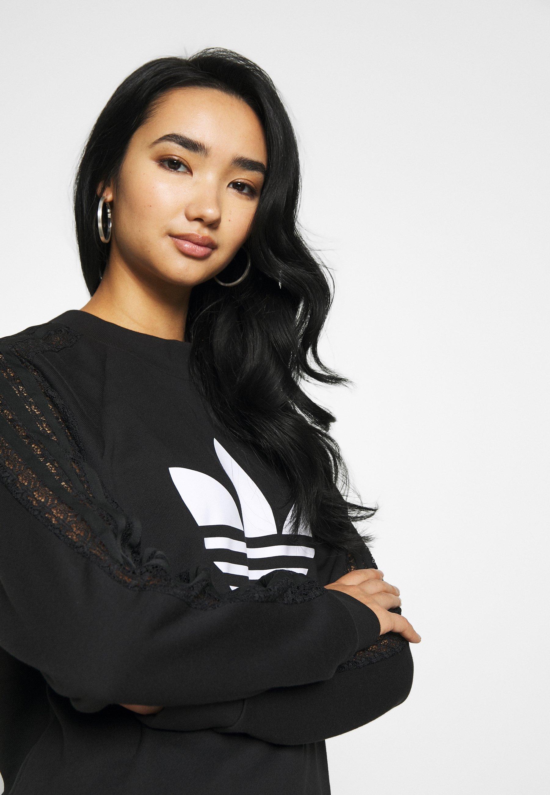 adidas Originals BELLISTA TREFOIL LONGSLEEVE LACE DRESS - Jerseykjole - black