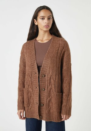Cardigan - mottled brown