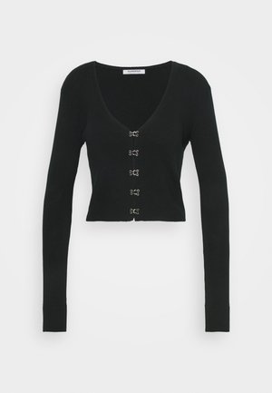 LONG SLEEVE CARDIGAN WITH FRONT FASTENING - Chaqueta de punto - black