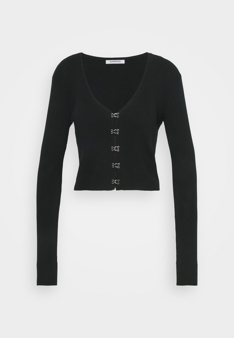 Glamorous - LONG SLEEVE CARDIGAN WITH FRONT FASTENING - Cardigan - black