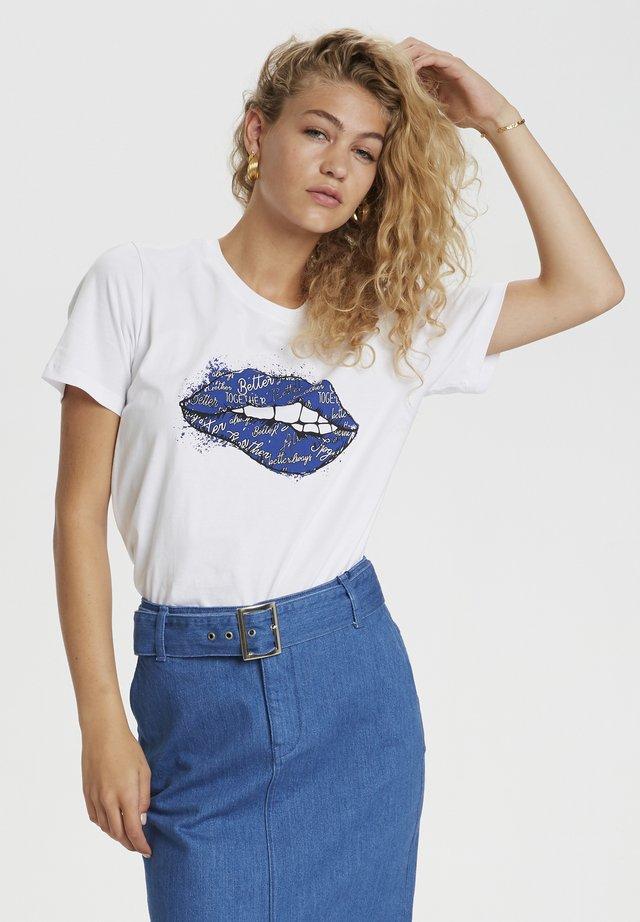T-shirt con stampa - bright white / blue print