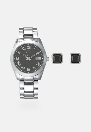 Watch Cufflink/Uhr Manschettenknöpfe Set - Klocka - silver-coloured
