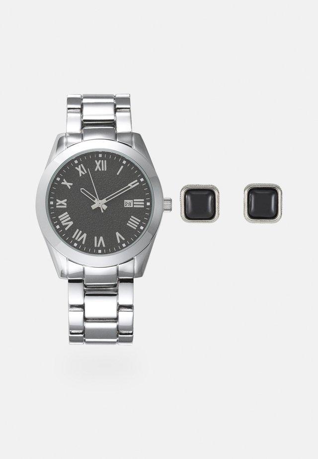 Watch Cufflink/Uhr Manschettenknöpfe Set - Ure - silver-coloured