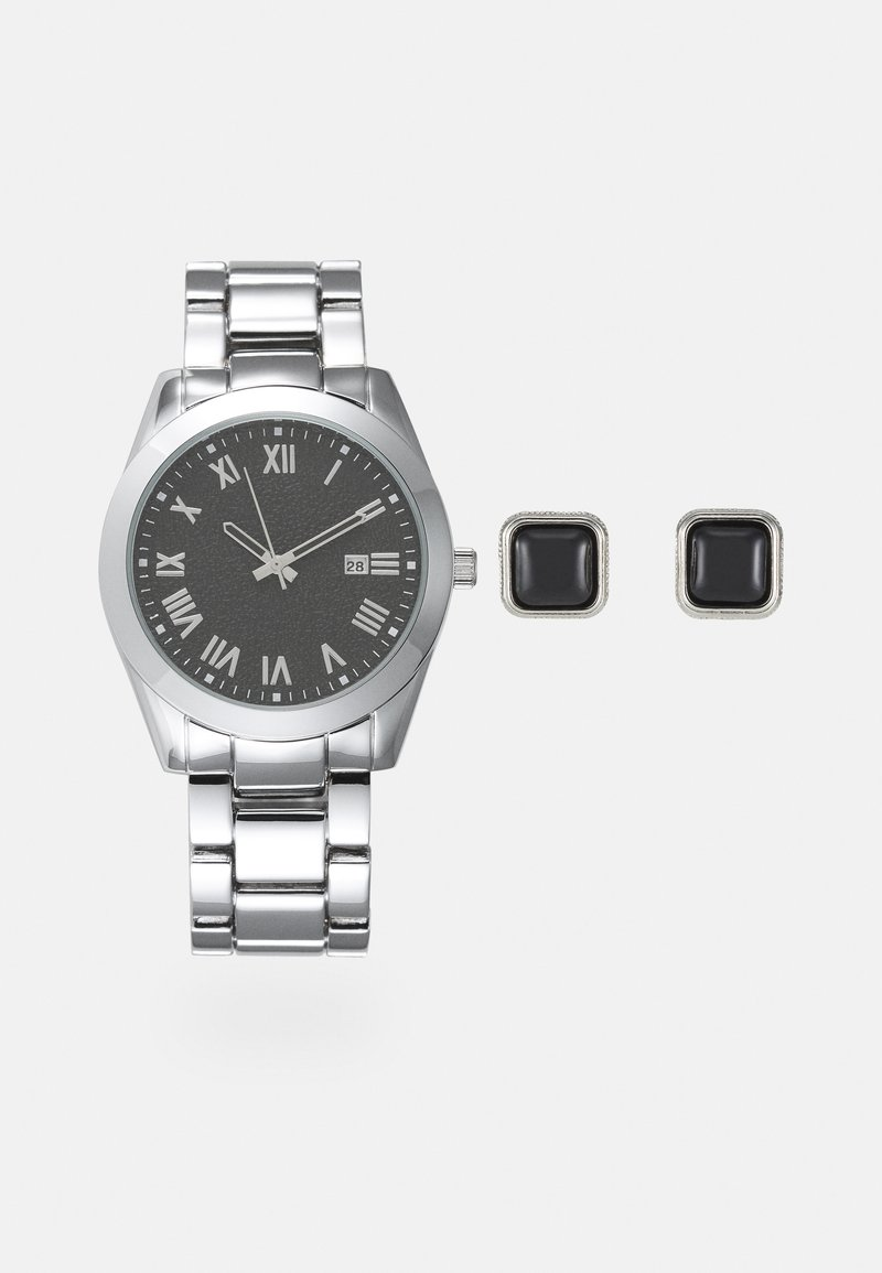 Pier One - Watch Cufflink/Uhr Manschettenknöpfe Set - Hodinky - silver-coloured