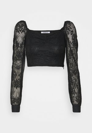CROP TOP WITH LONG SLEEVES AND SQUARE NECKLINE - Blouse - black