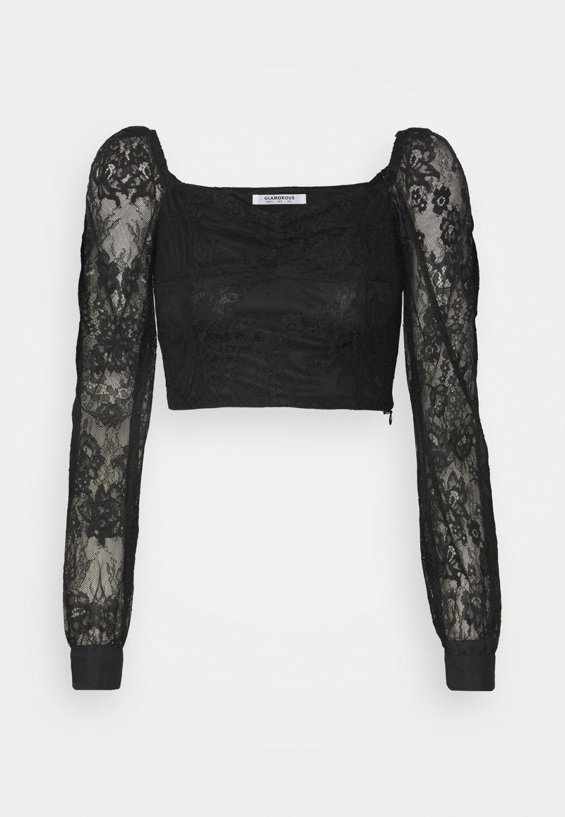 Glamorous - CROP TOP WITH LONG SLEEVES AND SQUARE NECKLINE - Blouse - black