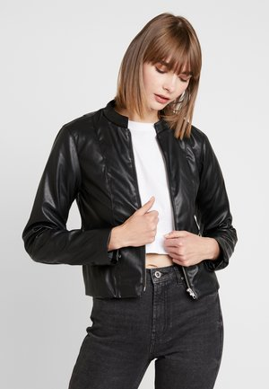 PCRICHIE STRAIGHT ZIP JACKET - Faux leather jacket - black
