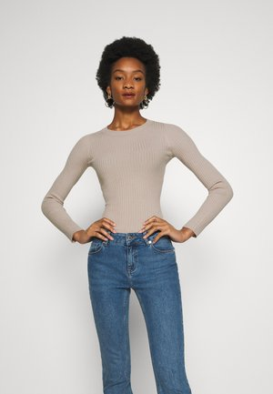 BASIC- RIBBED JUMPER - Pullover - gray tan