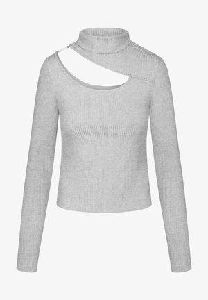 MIT CUT-OUT - Long sleeved top - hellgrau meliert