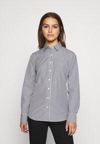 J.CREW PETITE - PERFECT SHIRT IN CLASSIC STRIP - Button-down blouse - black - 0
