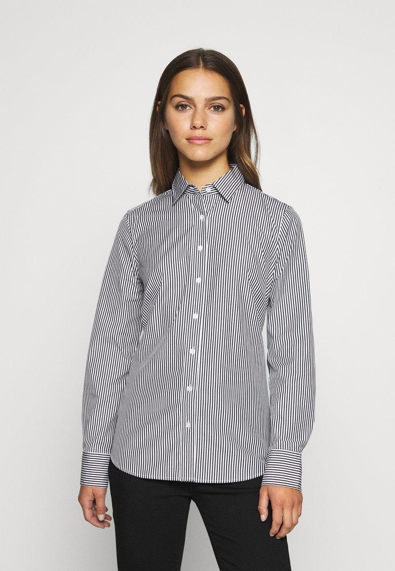 J.CREW PETITE - PERFECT SHIRT IN CLASSIC STRIP - Button-down blouse - black