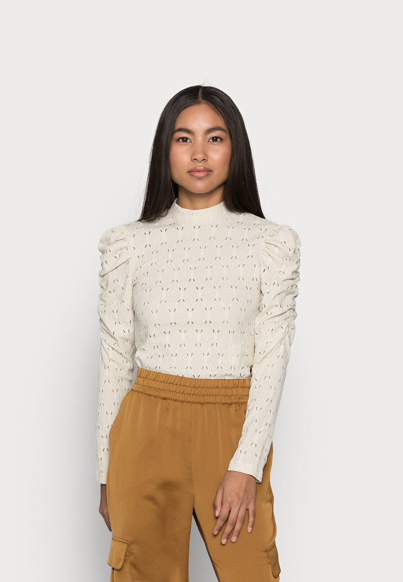 ONLY Petite - ONLROSALINE HIGHNECK PUFF - Blouse - pumice stone