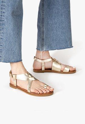 ZEHENSTEG - T-bar sandals - mntrl gold ngl