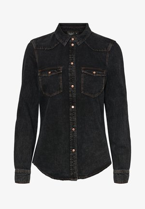 Button-down blouse - medium grey denim