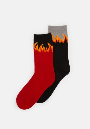 LONG FLAME SOCKS 2 PACK - Chaussettes - red/black