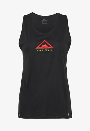 CITY SLEEK TANK TRAIL - T-shirt sportiva - black/laser crimson/speed yellow