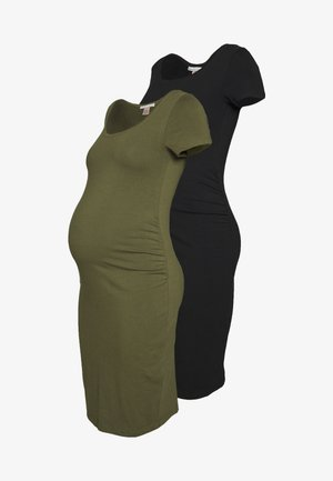 2 PACK - Shift dress - dark green/black